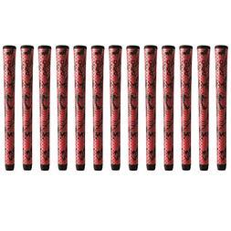 "Winn DriTac X Midsize +1/16"" Red/Black Golf Grip Bundle"