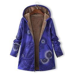 COPPEN Womens Coats Winter Warm Outwear Print Hooded Pockets